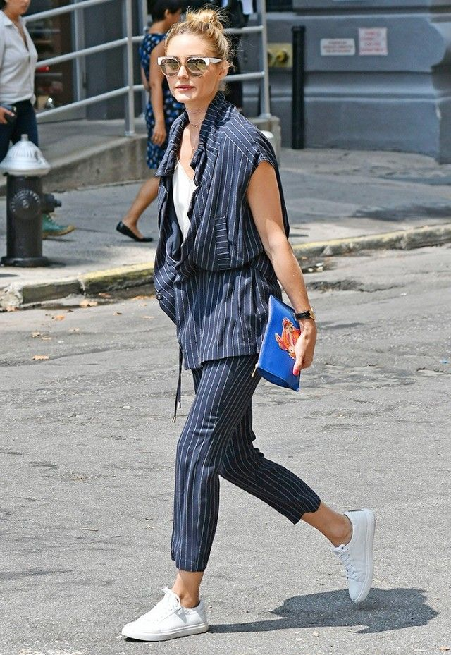 a79c9974d6e Follow in the steps of Olivia Palermo and wear sneakers to work with a  polish look