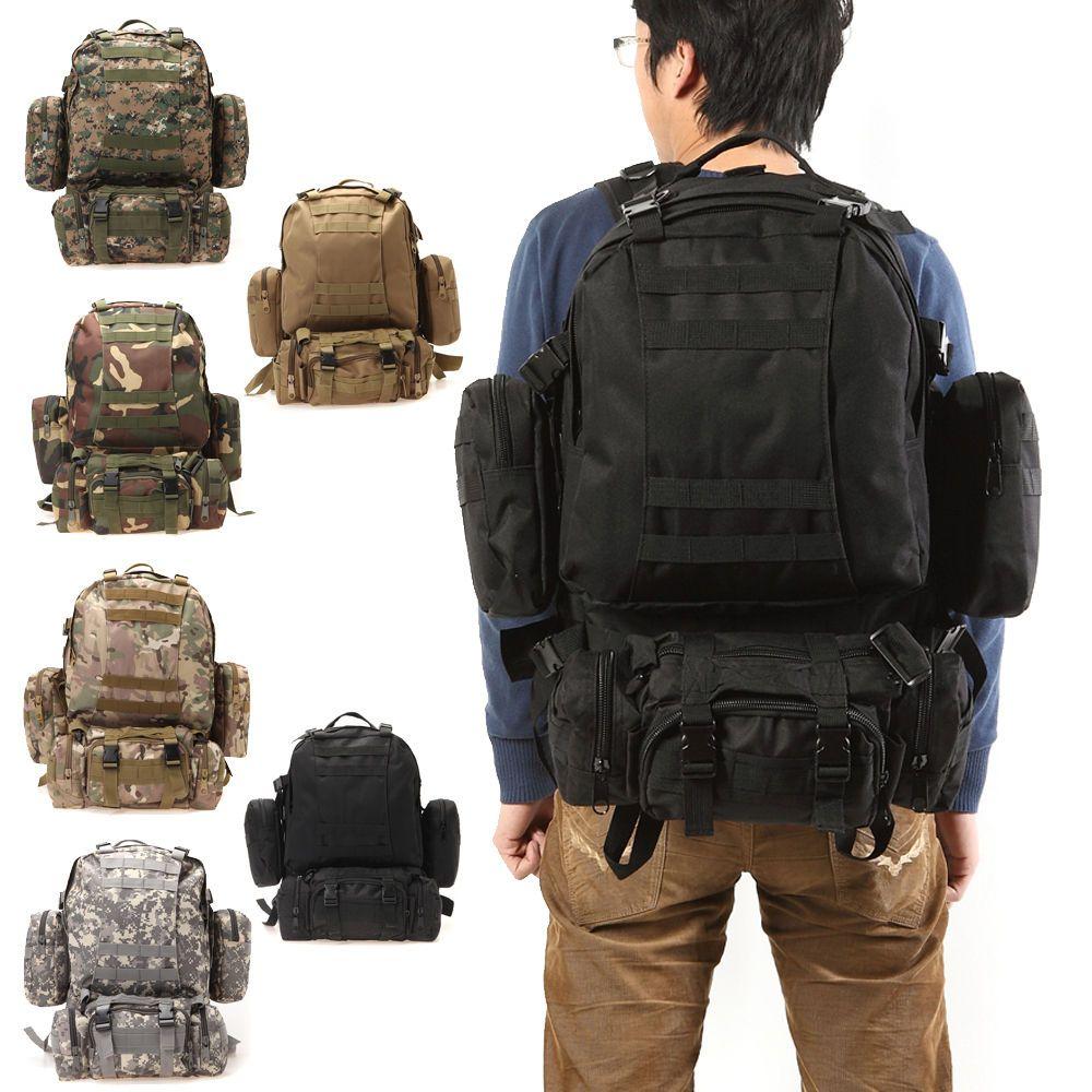 a0ff8c0483ca 55L Shoulder Tactical Backpack Rucksacks Sport Travel Hiking Trekking Bag  School