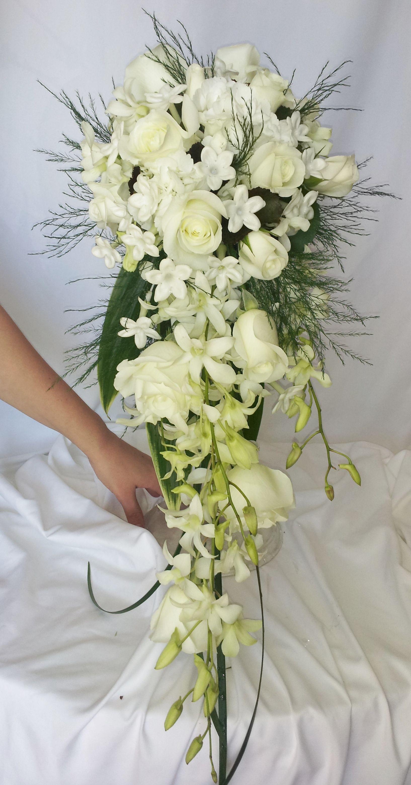 All white cascading bridal bouquet Flower bouquet