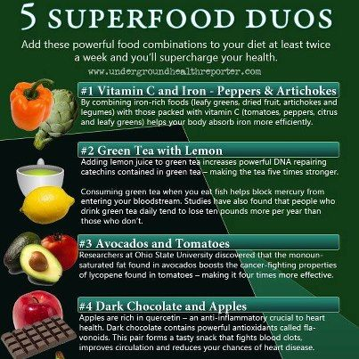 """5 Superfood Duos Infographic.    What happens when you combine certain foods? Magic can happen.     There's a great book about strategic food combinations called: """"Food Synergy"""" by Elaine Magee.    For more cool Superfood Tips visit our Facebook page: www.facebook.com/nuxcentre"""