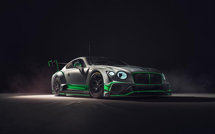 Lataa kuva Bentley Continental GT3, 4k, 2018 autoja, tuning supercars, Bentley