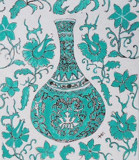 Green Chinese Vase by KateKennedyArt on Etsy, $50.00