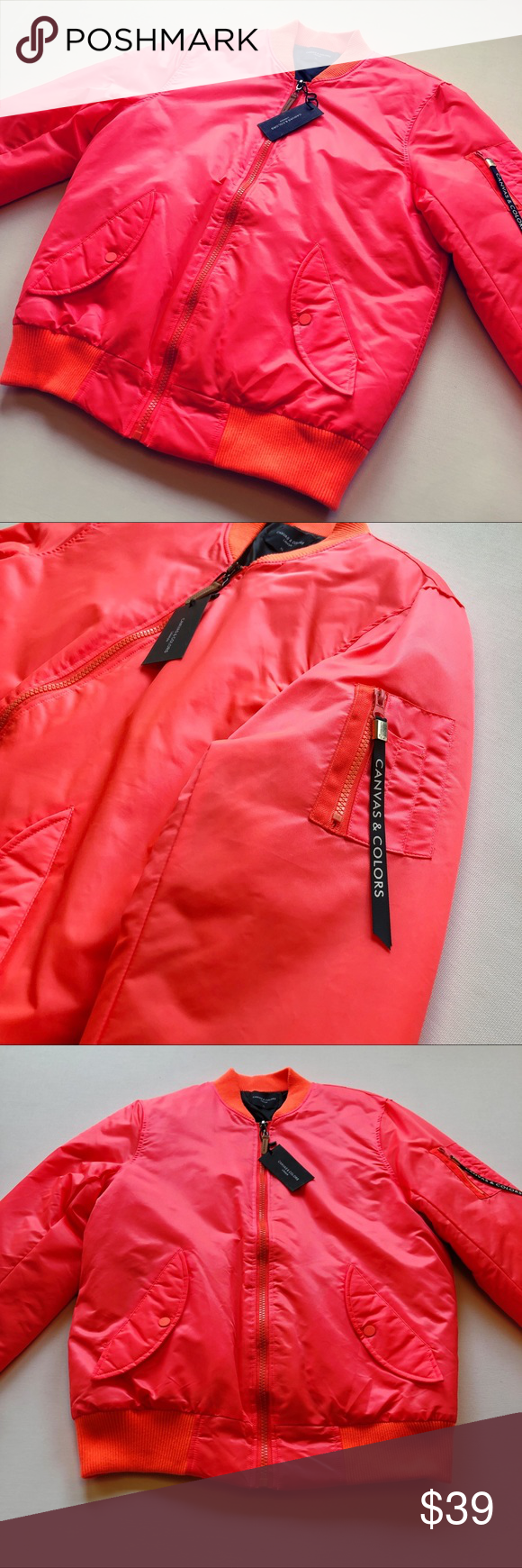 New canvas u color flight bomber jacket nwt in my posh closet
