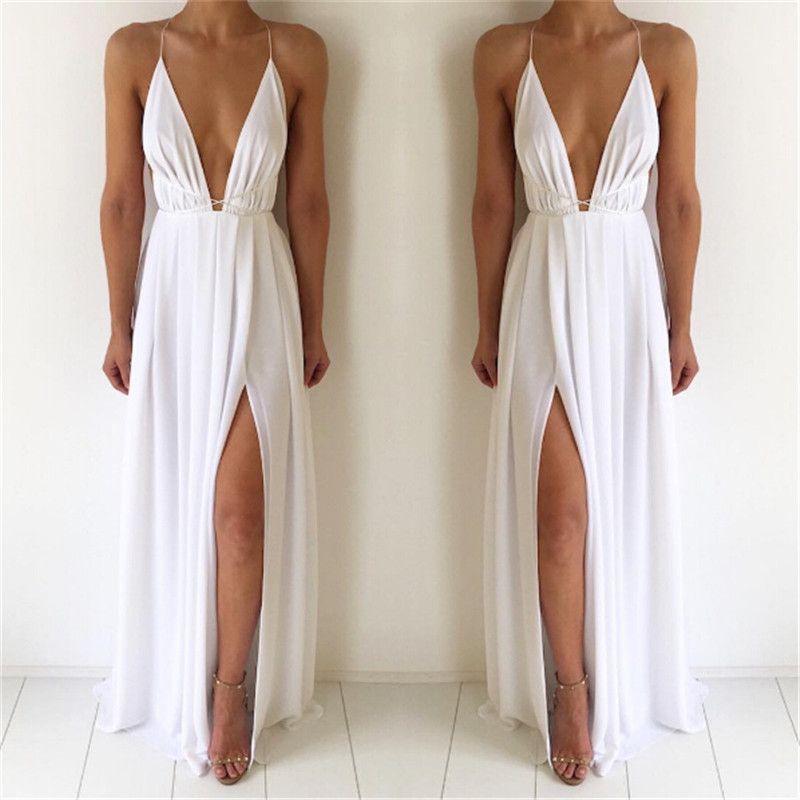 Neue Mode 4 Farbe Tiefem V ausschnitt Maxi Kleid Frauen Sexy ...