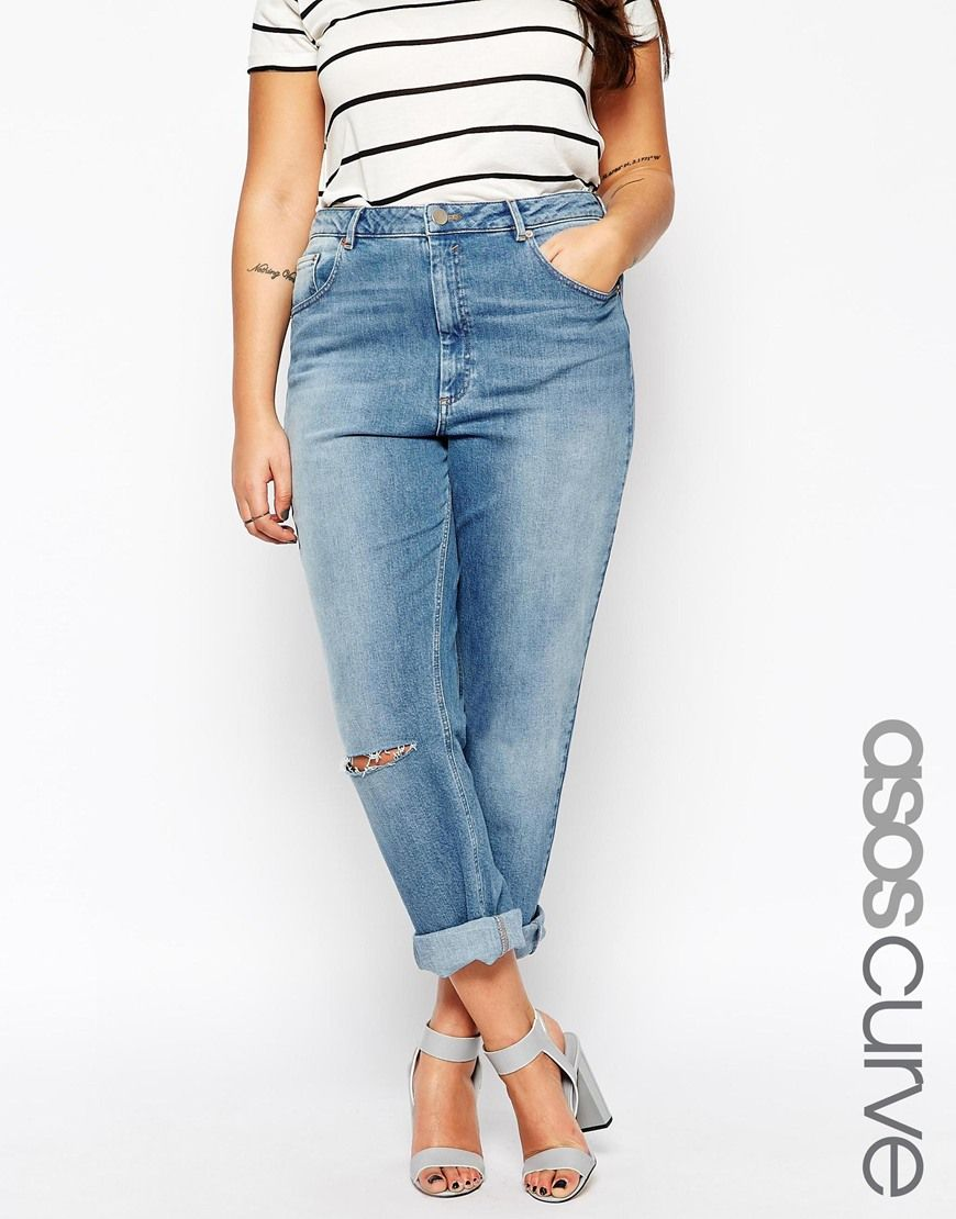 purchase cheap unbeatable price new style ASOS+CURVE+Kimmi+Shrunken+Boyfriend+Jean+In+Mid+Blue+Wash+ ...