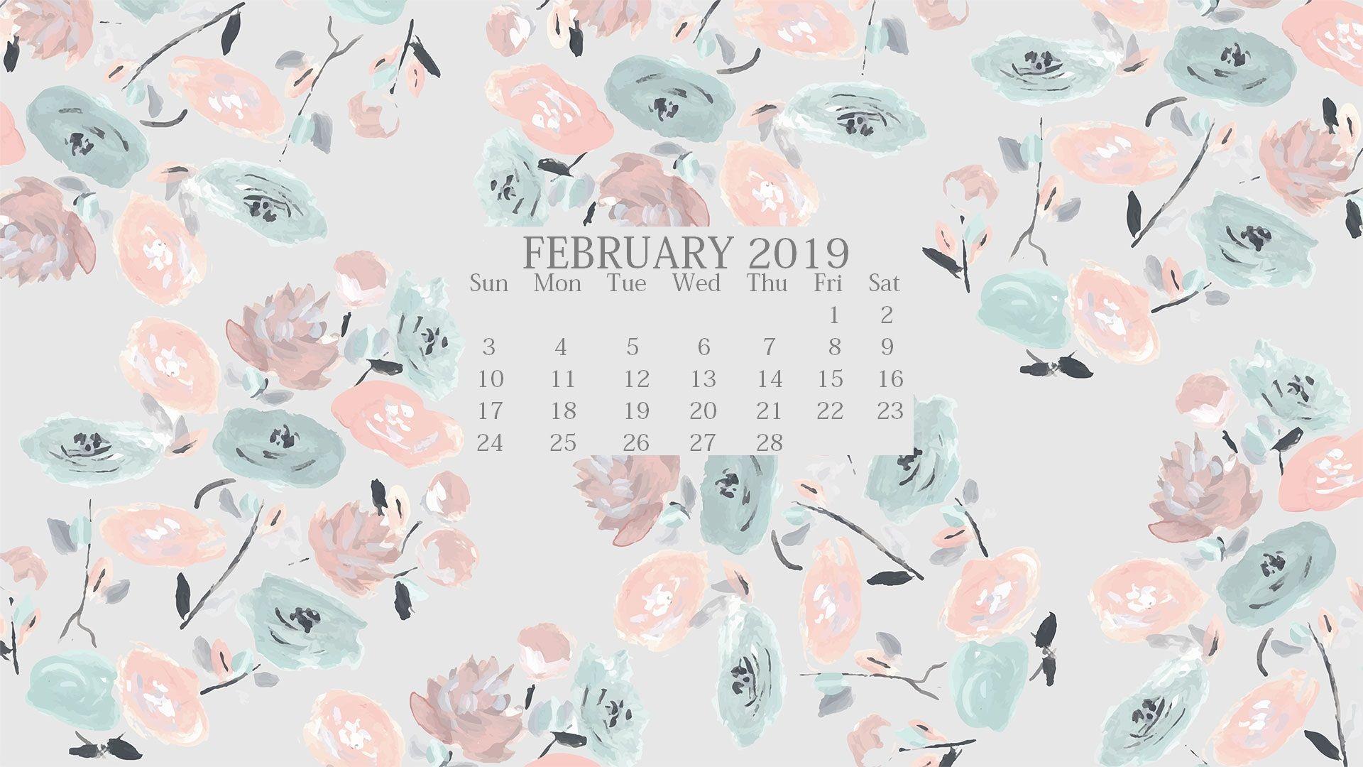 Cute 2019 Background Screensaver February Wallpaper Calendar