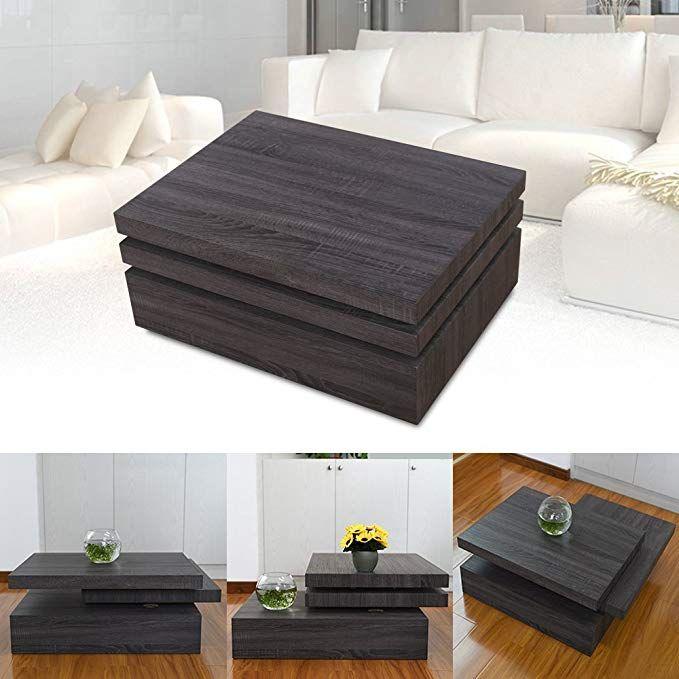 Apelila Square Rotating Wood Coffee Table Rectangular Swivel 3 Layers Living Room