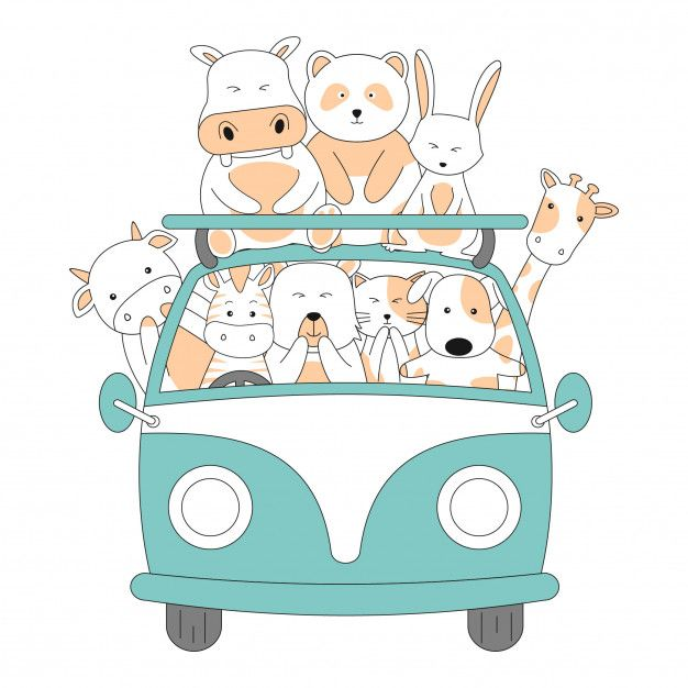 Hand Drawn Friendship Ride Car Together Cute Animals Cartoon