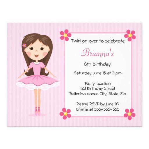 Pink Ballerina Cute Girly Birthday Invitation