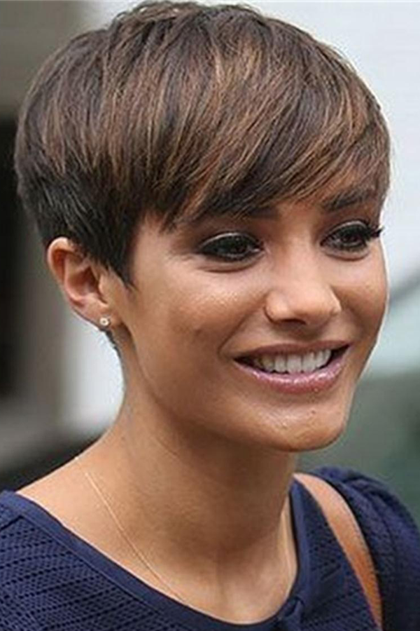 Short Natural Pixie Hairstyle On The Side Brown St
