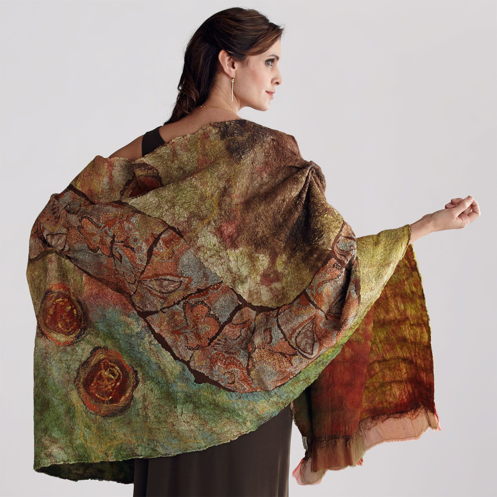 Nuno-felted Wrap in Orange, Olive & Browns by Anne Vincent (Wool Wrap) | Artful Home
