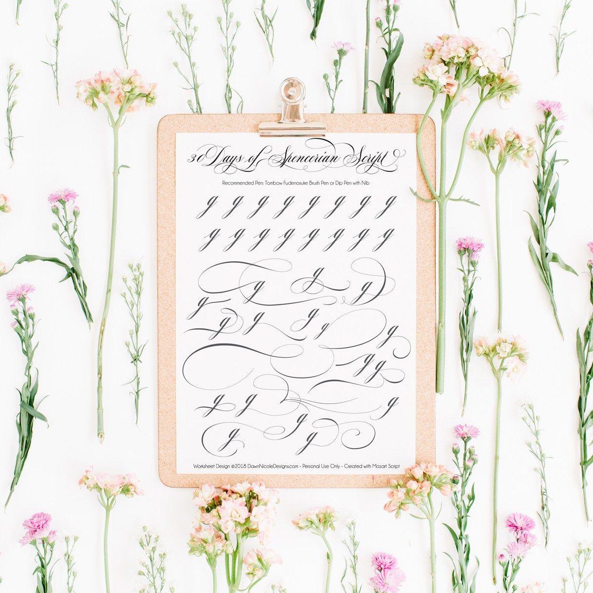 Spencerian Script Style Letter G Worksheets
