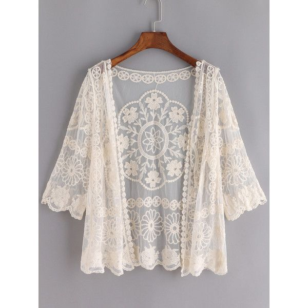 Apricot Sheer Mesh Lace Crop Cardigan (43 BRL) ❤ liked on ...