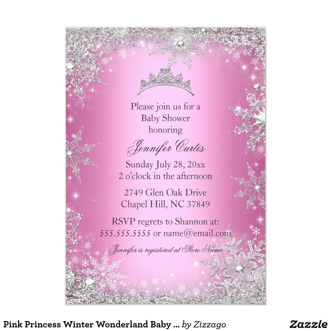 Pink Princess Winter Wonderland Baby Shower Invite | Pink princess ...