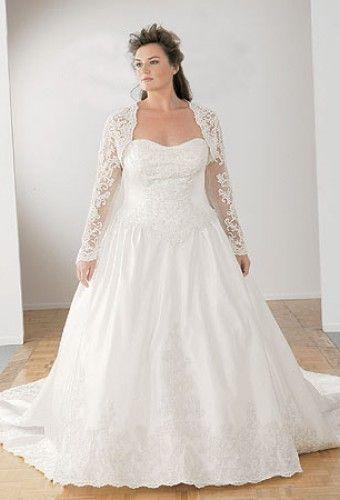 Plus size Satin + lace sweetheart neckline with long sleeve jacket ...