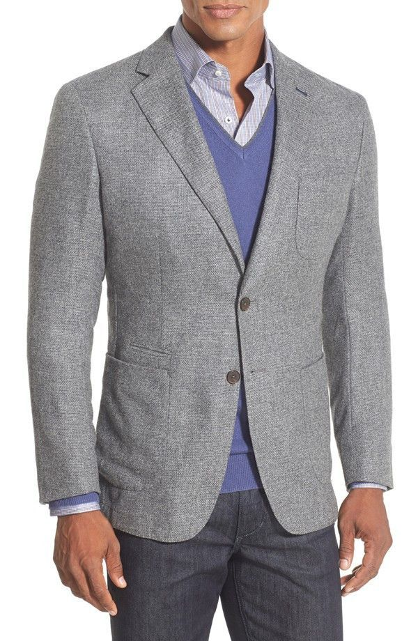 Classic Fit Textured Two-Button Blazer