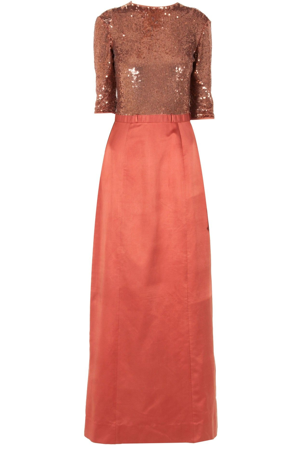 Sailex rose gold long dress with sequined bodice dresses pinterest