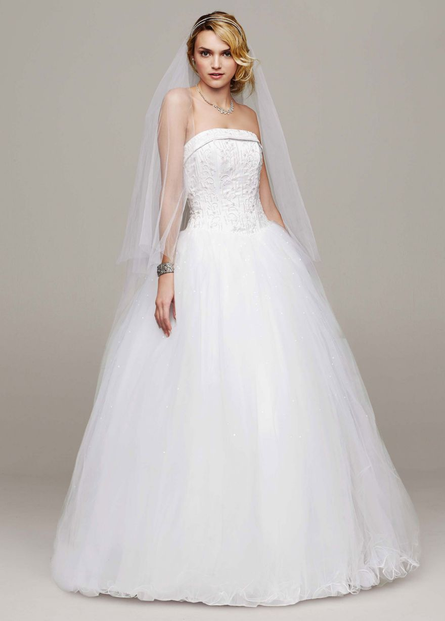 Strapless Tulle Ball Gown with Beaded Satin Bodice - David\'s Bridal ...