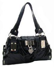 Buy Sey Sweet Black Bow Heart Lock Pu Patent Leather Satchel Bowler Hobo Handbag Purse at Indiana Apparel