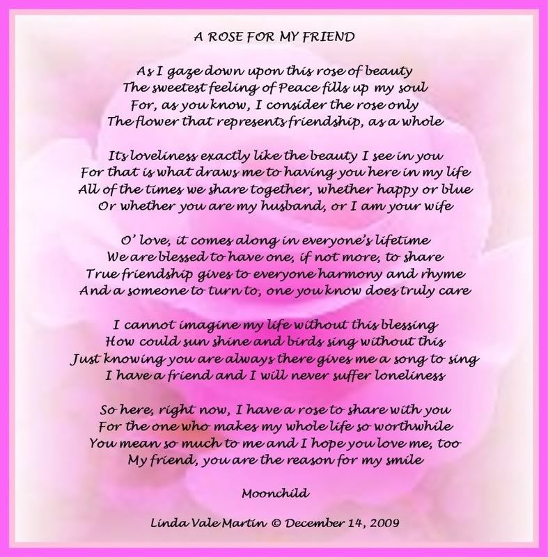 My Best Friend Poems Friendship | ROSE FOR MY FRIEND | Lori ...