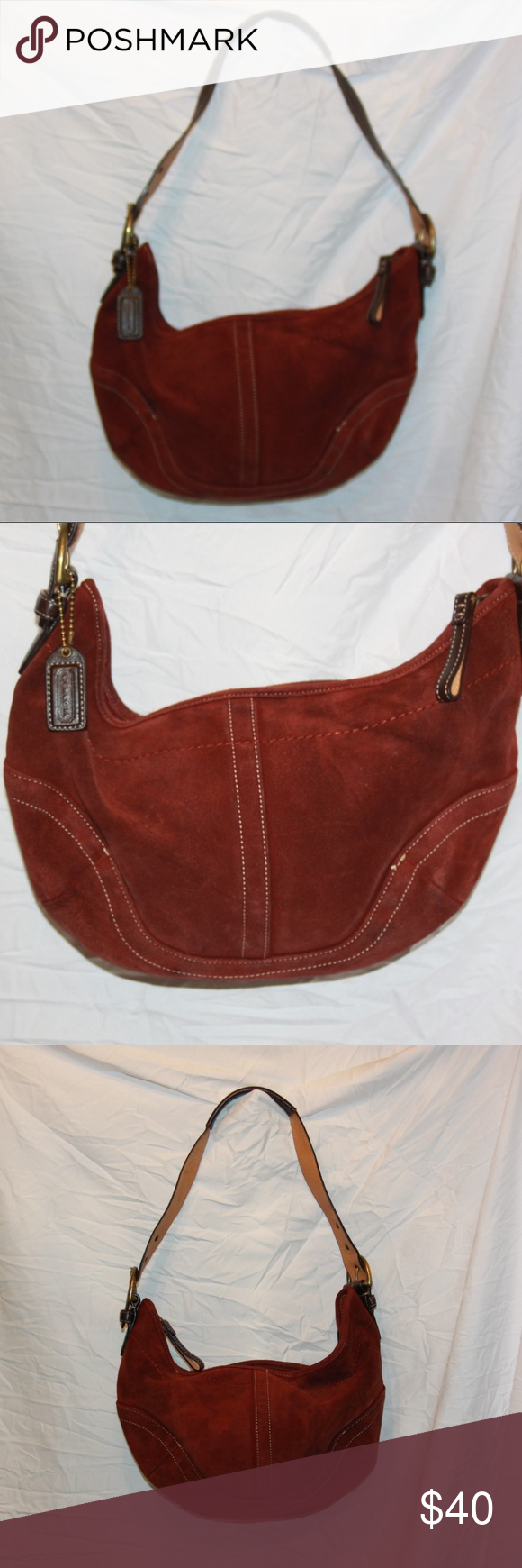 COACH 4286 Red Burgundy Maroon Soft Suede Leather COACH 4286 Red Burgundy  Maroon Soft Suede Leather f05f44a02e