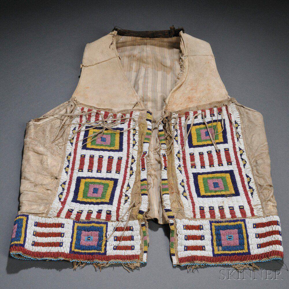 Plains Beaded Cloth and Hide Vest