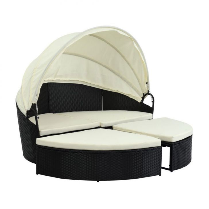 Sofá Chaise Outdoor Marrom e Bege