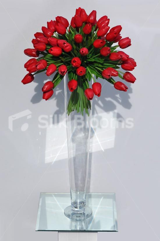 Vibrant Artificial Red Fresh Touch Tulip Tall Floral Vase