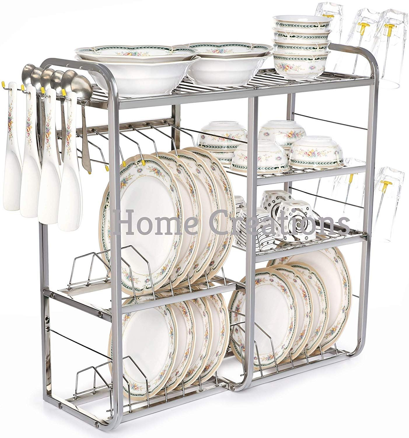 Home Creations 24 Inch Wall Mount Kitchen Dish Rack Plate Cutlery Stand Kitchen Storage Rack Kitchen Utensil Rack Modern Kitchen Storage