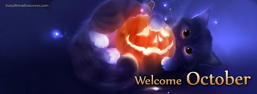 welcome october kitty Facebook Cover InstallTimelineCover.com