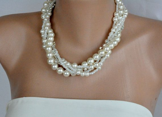 Bridal Pearl Necklace brides bridesmaids by kirevi8 on Etsy, $49.00 - so pretty!