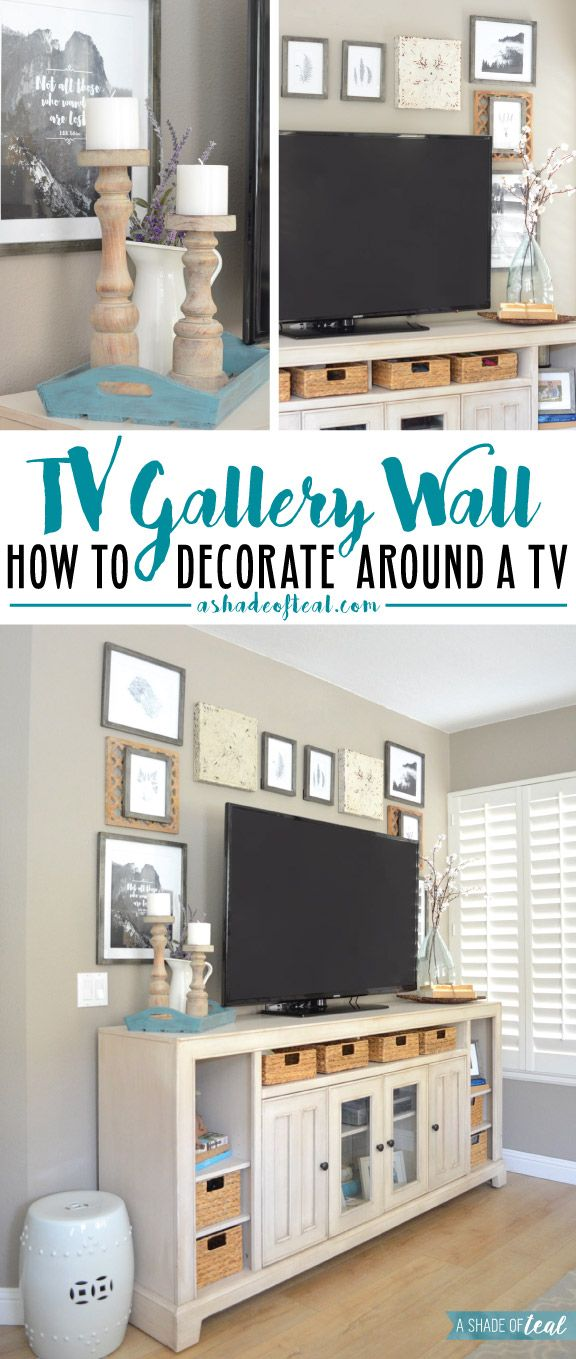 TV Gallery Wall; How to Decorate Around a TV | Gallery wall, Teal ...