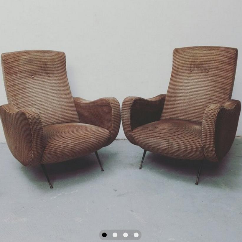 Coppia di poltrone anni 50 in tessuto con zampe - Mobili norvegesi ...