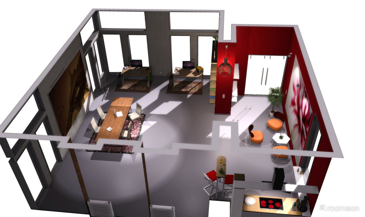 Eccentric 3d Home Interior Layout Including Dining Room Kitchen