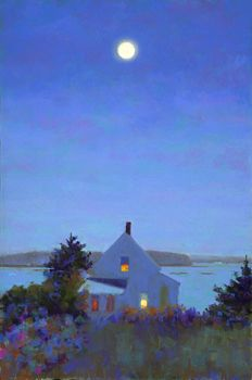 Yellow House Full Moon by Suzanne Siegel