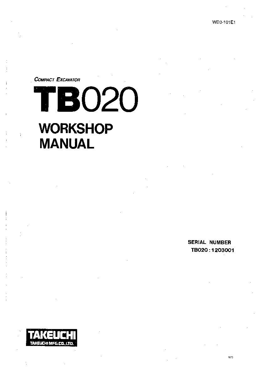 Takeuchi TB020-E WD3-101E1 Compact Excavator Workshop