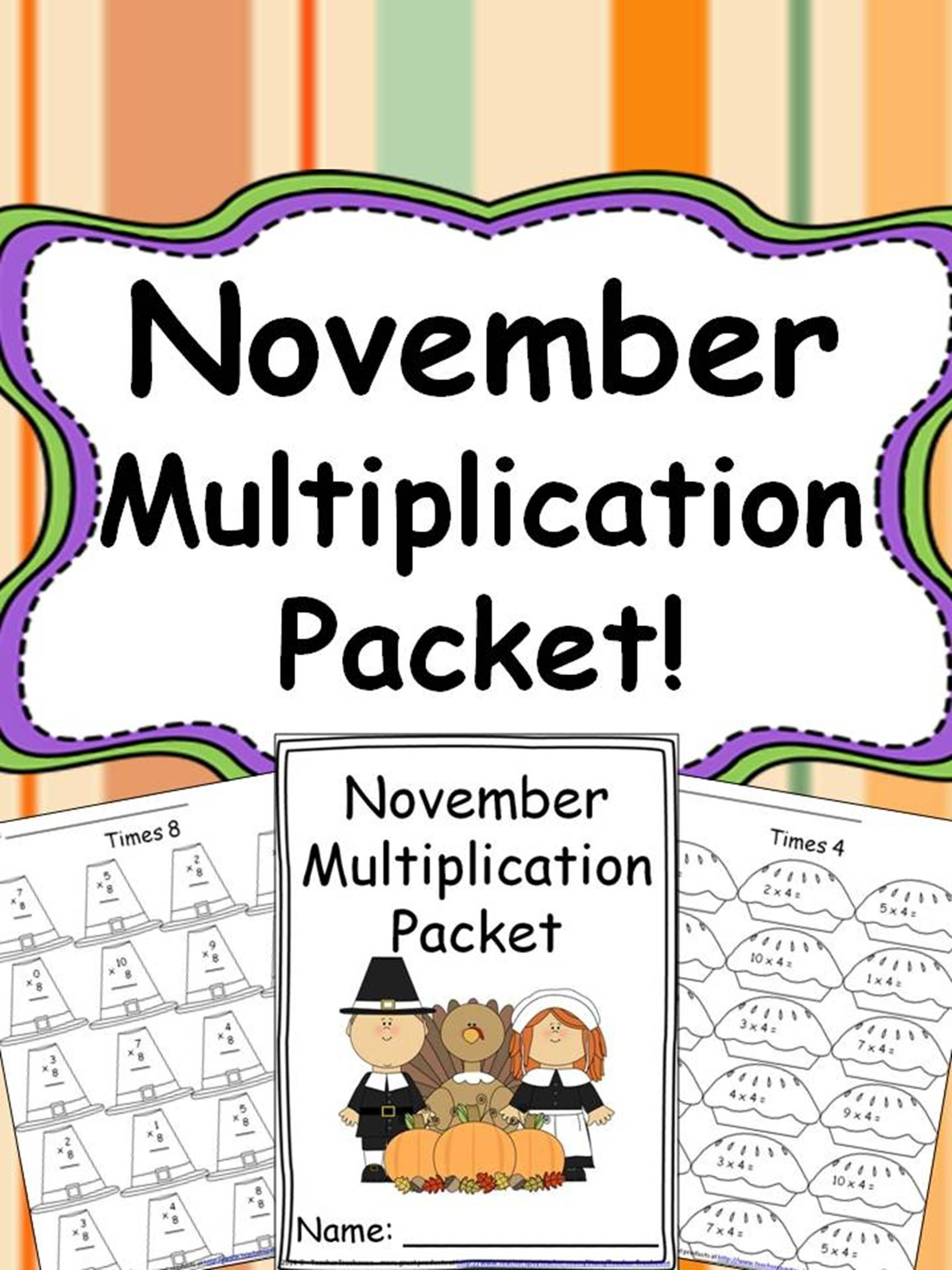 November Multiplication Packet Just Print Amp Go