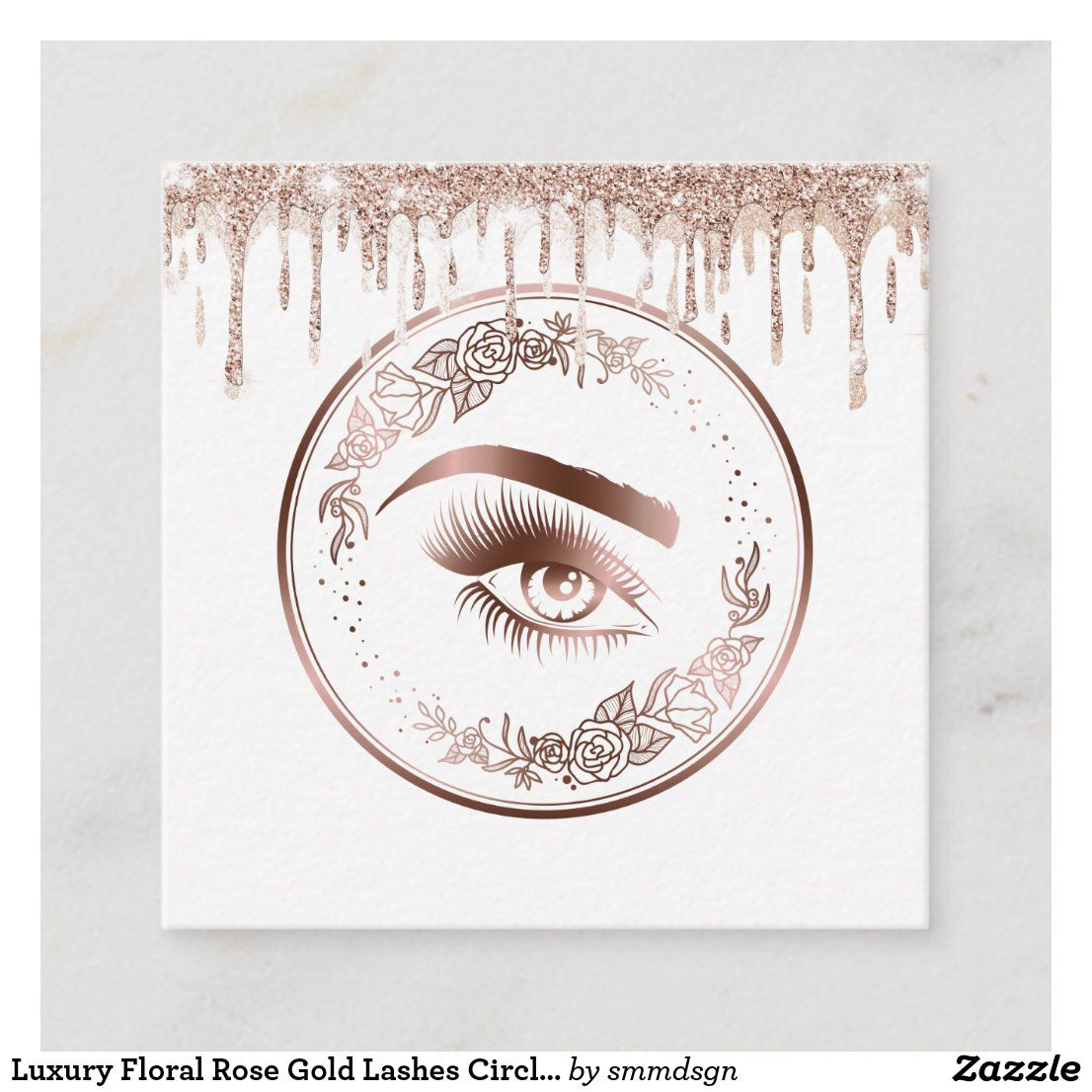 Photo of Luxury Floral Rose Gold Lashes Circle Eyes Brows Square Business Card | Zazzle.com