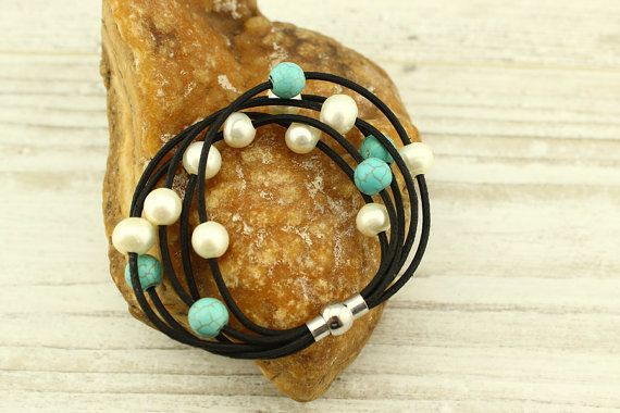 Hey, I found this really awesome Etsy listing at https://www.etsy.com/listing/245617294/white-pearl-braceletnatural-turquoise