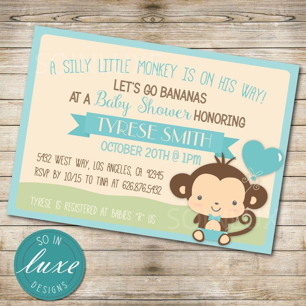 Boy Monkey Themed Baby Shower Invitation Starting at $9.99. From DIY ...