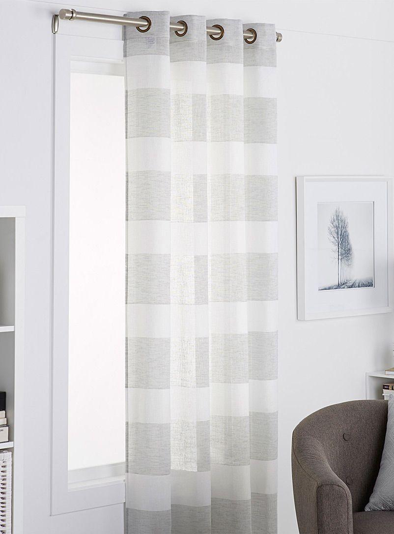 Rustic Stripe Voile Curtain 140 X 220 Cm