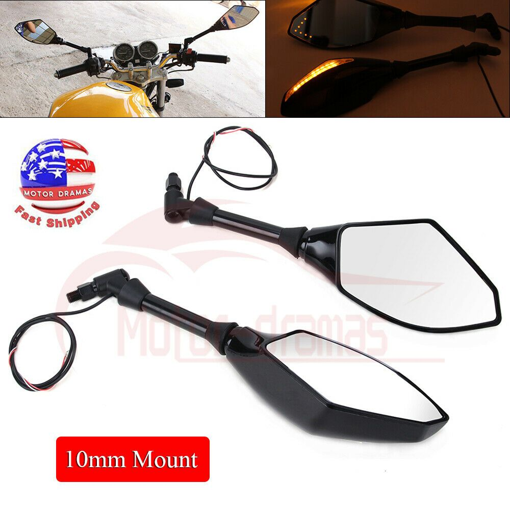 10mm Motorcycle LED Turn Signal Rearview Side Mirrors For Honda Suzuki Cruiser