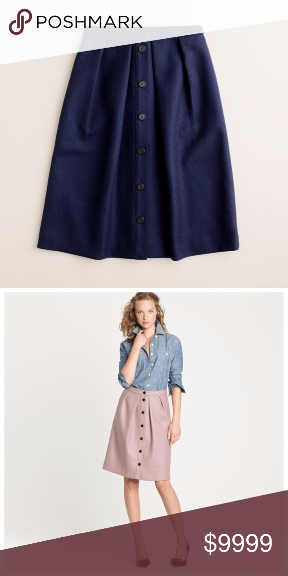 7163acc641 J. Crew Flair Skirt in Double-Serge Wool in Navy J. Crew Flair Skirt in  Double-Serge Wool in Navy. A special stitching technique lends this  feminine ...