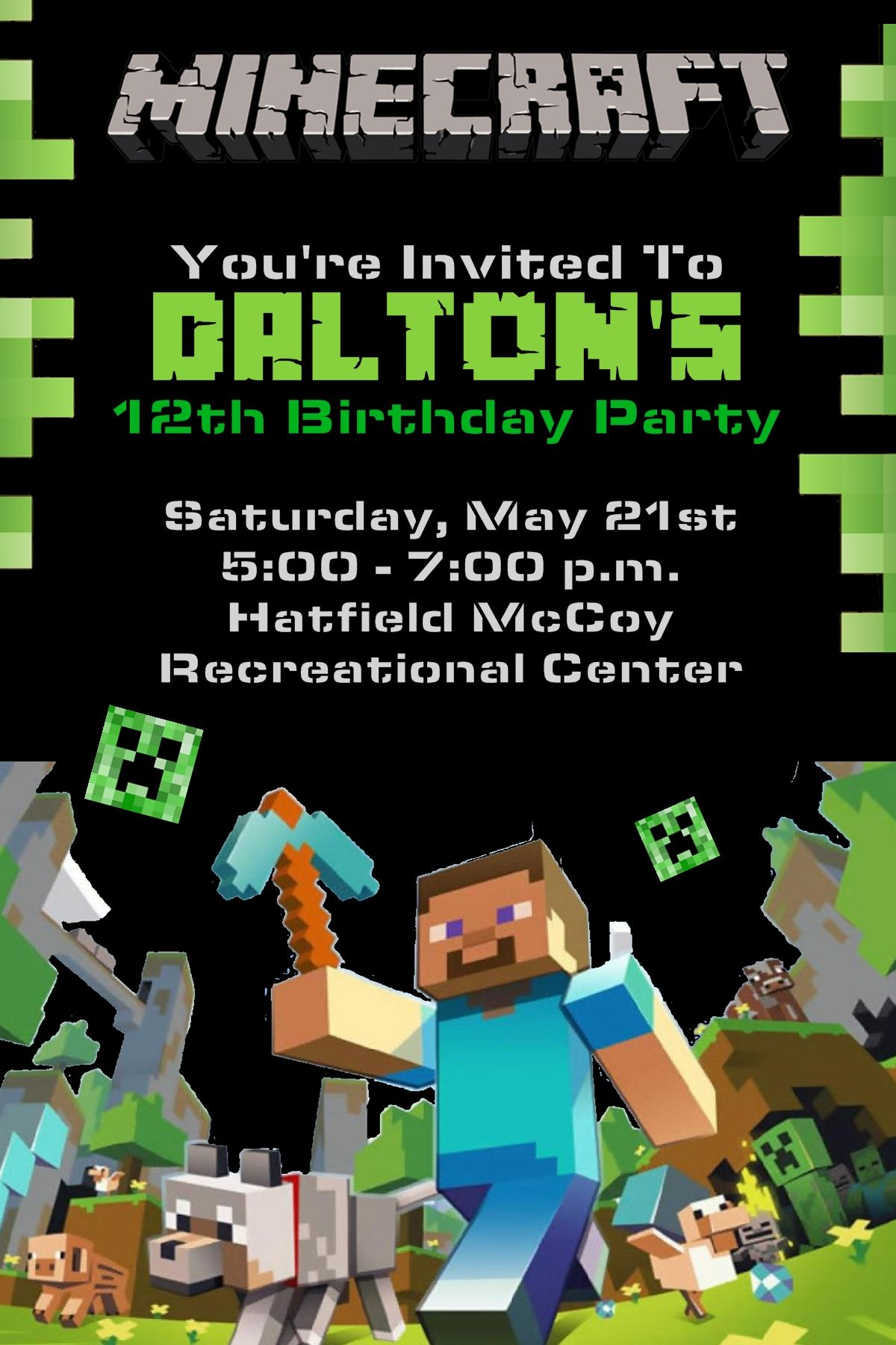 4x6 Minecraft Birthday Invitation Contact Me Via Email At Aswiney01yahoo Or Simply