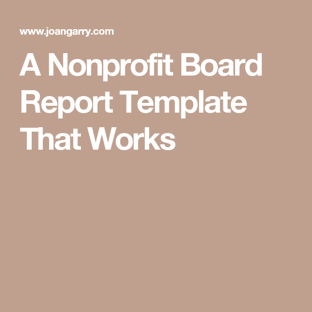 a nonprofit board report template that works