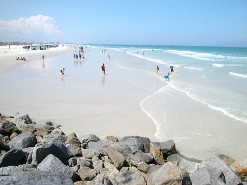 The Beautiful Northern View From Jetty In Ponce Inlet Daytona Beach Floridaflorida