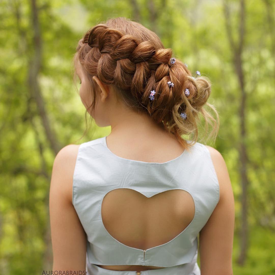 Dutch braid updo with this cute heart back dress💙