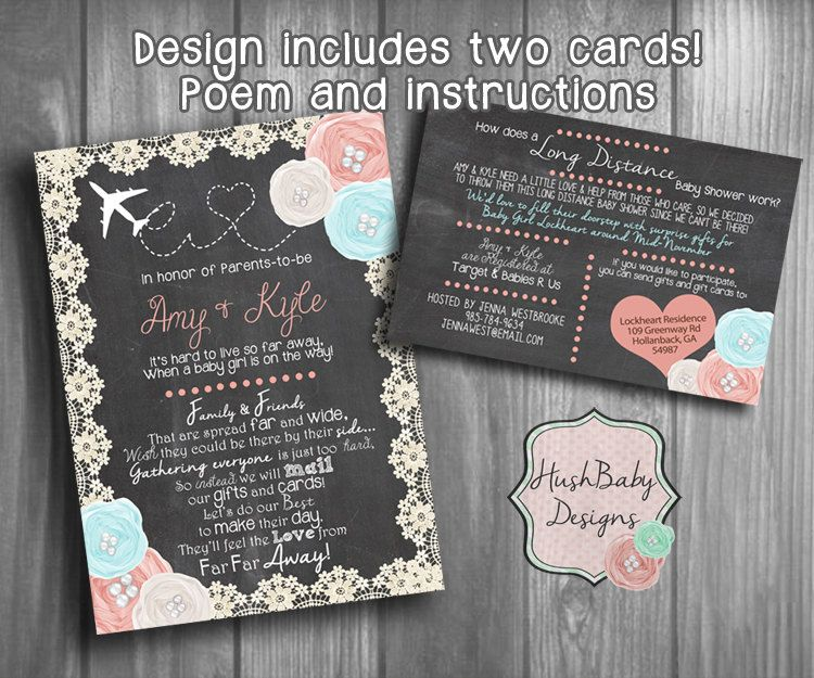 Long Distance Baby Or Bridal Shower Invitation By HushBabyDesigns