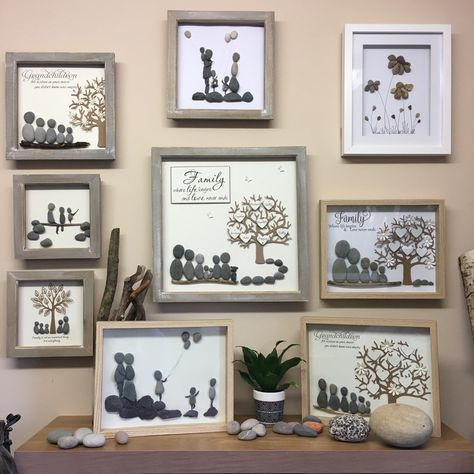 Mothers gift, Pebble Art, Family Tree, Wedding gift, Pebble Art family, Gifts for Mom, Pebble Pictures, Anniversary gift, Family trees, 23cm