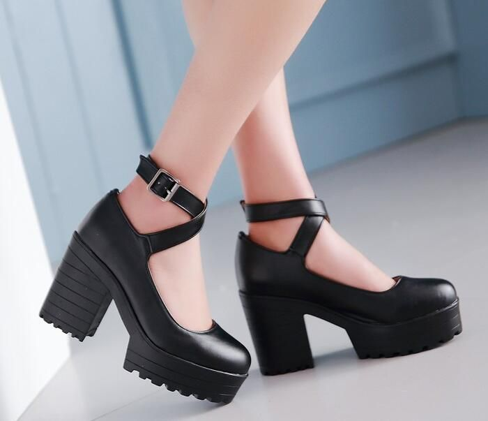Punk Womens  Platform Ankle Strap Buckle Sandals Chunky Heel Pumps Shoes